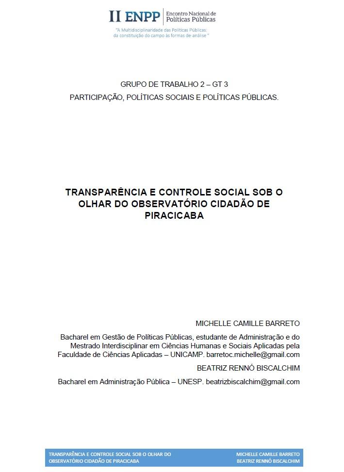 Observatório Cidadão de Piracicaba é tema de artigo acadêmico.
