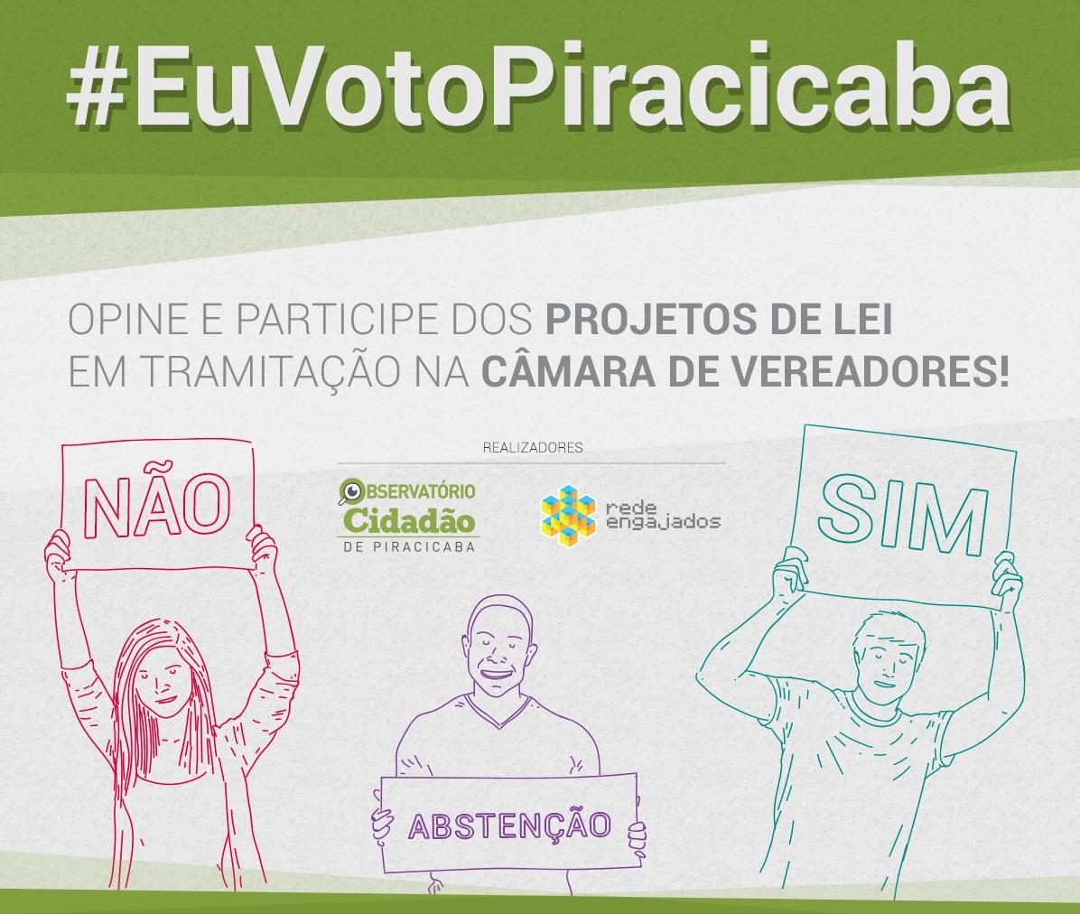 #EuVotoPiracicaba, opine e participe dos projetos de lei da Câmara dos Vereadores!